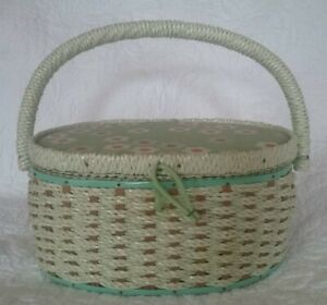 Cute Vintage Singer Sewing Basket Wicker Woven Mint Green amp; Pink Floral 1970#x27;s $25.00