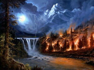 V0926 Amazing Painting Art Wildfire Forest Mountain Decor WALL PRINT POSTER
