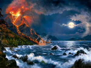 V0924 Amazing Painting Art Volcanic Eruption Lava Moon WALL PRINT POSTER