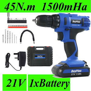 Cordless Drill DIY Set 21V Driver Screwdriver Lithium Ion Battery US Fast Charge