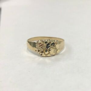 Mens Nugget Oval Ring Real Solid 10K Yellow Gold ALL SIZES Unisex $79.99