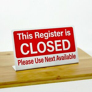Register Closed Signs Plastic L style White w Red 6 pack Free Shipping $59.70
