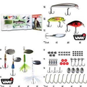 Tackle Trout Fishing Kit 77 Pc Box Lures Tail Spinners Tailored Jerkbait Lure