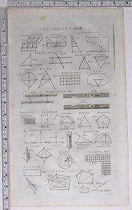 1786 ORIGINAL PRINT GEOMETRY PARALLEL RULER VARIOUS DIAGRAMS OVAL ISOCELES ANGLE