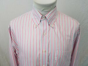 BROOKS BROTHERS Country Club Pink Blue Striped L S Sport Shirt Mens Large EUC $9.95