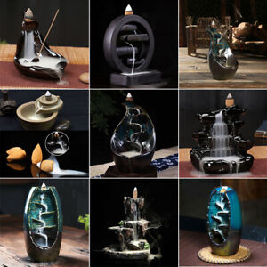 Ceramic Glaze Waterfall Backflow Smoke Incense Burner Censer Holder Cones Home