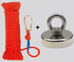 UPTO 2000LB Fishing Magnet Kit Strong Neodymium Pull Force with Rope amp; Carabiner $25.00