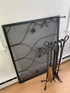Vintage iron fireplace screen and full tool set $50.00
