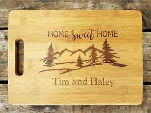 Personalized Bamboo Cutting Home Sweet Home Mountains Scene Welcome Gift $28.99