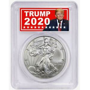2020 $1 American Silver Eagle PCGS MS69 Trump 2020 Label $38.00