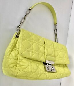 French Designer Chartreuse Leather Christian Dior Handbag Made In Italy