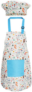 Jennice House Kids Apron and Chef Hat Set, Cute Children Baking Aprons with Neck