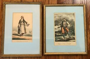 Pair Matted Framed Early 19th Century Antique Lithographs LECONTE amp; DELPECH $85.00