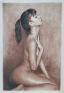 GORGEOUS ORIGINAL PIN UP ART PINUP PAINTING LOVELY YOUNG NUDE GIRL FEMALE WOMAN $216.75