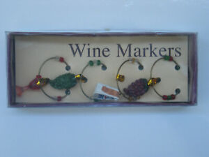Silver Wine Glass Charms Drink Markers Set of 6 French Picnic Theme - Rough Box