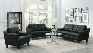 3pc Sofa Contemporary Living Room Furniture Black Upholster Furniture Angled Arm