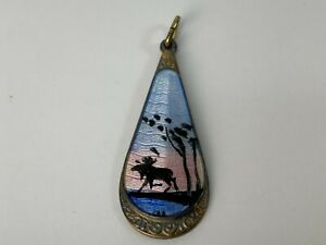 Norwegian Norway Elvik Co 925S Enamel ELG Moose Scenic Pendant