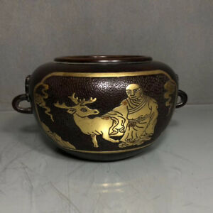 9.5cm China Old Brass Bronze Copper Animal deer Incense burner censer EVO