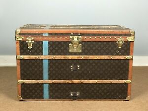 Louis Vuitton Antique Steamer Trunk Monogram With 2 Trays Leather Handles $19500.00