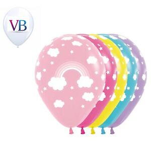 6 Count Pastel Rainbow amp; Clouds 11quot; Latex Balloons Birthday Party Decorations $2.99