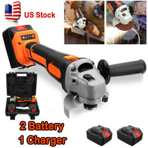 Cordless Brushless Electric Angle Grinder Cutting + 2 Battery Charger Toolkit US