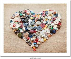 Buttons Heart. Valentine's Day  Art/Canvas Print. Poster, Wall Art, Home Decor