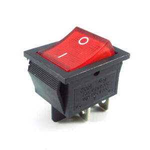 2x Square Rocker Switch Red LED 4 Pin DPST On Off Snap In 15A 250V 20A 120V AC $6.96