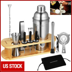 17x Bartender Kit Cocktail Shaker Set Stainless Steel Bar Tools w/ Bamboo Stand