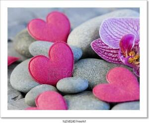 Pink Heart And Orchid Art/Canvas Print. Poster, Wall Art, Home Decor - C