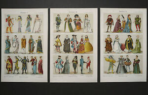 1897 Set of 3 antique lithographs of HISTORY OF COSTUME from Antiquity. Fashion. $18.00