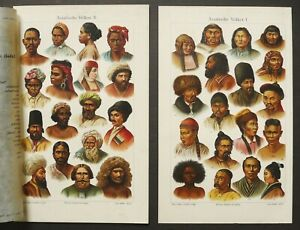 1897 Set of 2 Antique Lithographs of ANTHROPOLOGY. Asiatic Race of Human. Asia. $16.00
