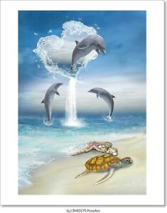 The Heart Of The Dolphins Art/Canvas Print. Poster, Wall Art, Home Decor