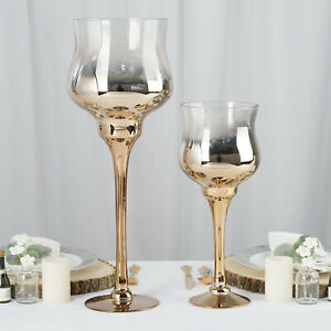 2 pcs Chrome Ombre Gold Wine Glass Tealight Candle Holders Wedding Centerpieces