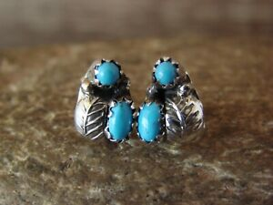 Native American Sterling Silver Leaf Turquoise Post Earrings by Joe