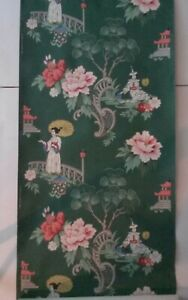 VTG ASIAN 1940s 1950s WALLPAPER Mid Century CHINOISERIE DK GREEN 3 Available W86