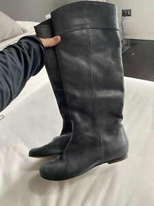 Chloe Womens Grey Leather Tall Boot Size 38.5