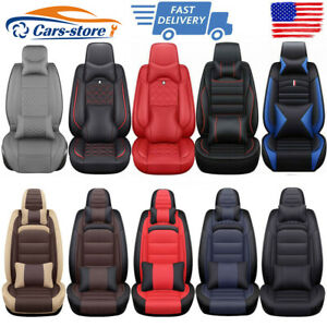 PU Leather Car Seat Covers Protector Cushions Front Rear Universal For Toyota VW