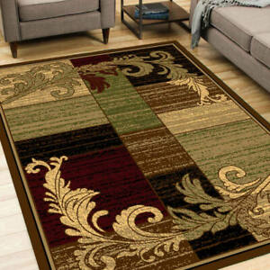 Wreath Leaf Brown Beige Area Rug