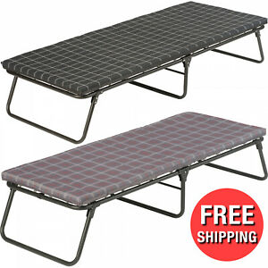 Comfort Smart Cot Folding Bed Camping Thick Foam Mattress Pad Strong Steel Frame