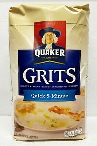 Quaker White Grits Quick 5-Minute 80oz. Smooth Creamy Texture. BB 10/20