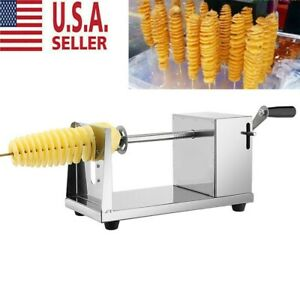 Manual Stainless Steel Twisted Potato Apple Slicer Spiral French Fry Cutter US