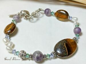 Amethyst pearl tiger iron bracelet with swarovski crystals