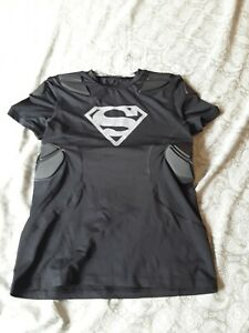 Under Armour Army Of 11 Padded Superman Shirt Heat Gear Boys Youth XL $22.00