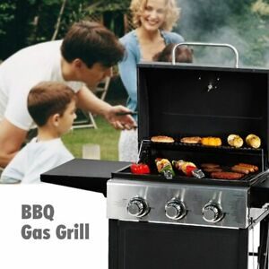 MASTER COOK Liquid Propane Gas Grill 3 Bunner w/ Folding Table Stainless Steel