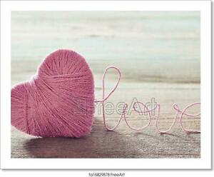 Pink Clew In Shape Of Heart Art/Canvas Print. Poster, Wall Art, Home Decor