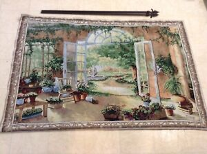 Huge Wall Hanging Tapestry By Susan Mink Colclough French Doors 56x38 Ret. $160 $35.00