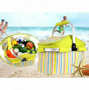 Folding Collapsible Basket Canvas Tote Bag for Picnic Travel Shopping Camping US