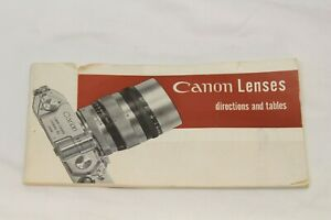 Canon Lenses Directions and Tables 1955 Booklet Canon II S cameras