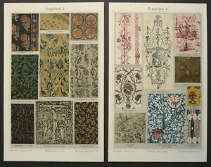 1897 Set of 2 antique lithographs of FABRIC TYPES. Carpets Tapestries Curtain. $18.00