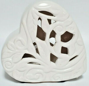 White Ceramic Heart. Lace Detail,  Gifts